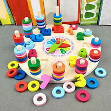 Baby Math Digital Clock Wooden Learning Toy Count Geometric Shape Matching ONE
