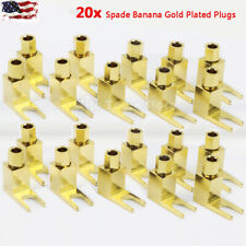 20x Spade Gold Plated Banana Plug Audio Speaker Cable Connector Adapter US