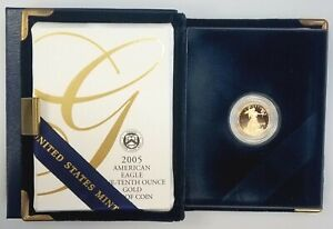 2005 W Proof 1/10 Oz, $5 Gold Eagle w/original box & display case! NO RESERVE!