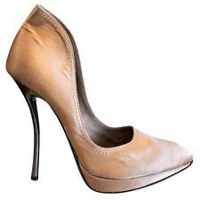 Lanvin Beige Satin Pointy Toe Metal Heel Platform Pumps Heels SZ 39 US 9 8.5