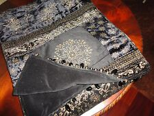 """BORGATA LUXURIOUS MARRAKESH BLACK & GOLD VELVET  TABLE RUNNER 14 X 72"""""""