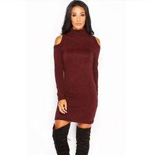 Women Long Sleeve Knitted Bodycon Jumper Dress Winter Sweater Party Mini Dresses