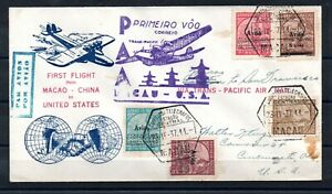 MACAU , 1937 , very nice flight cover to USA , better stamps franked , LOOK !