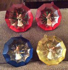 Vintage Lot Of 4 JEWEL BRITE Plastic Christmas Tree Ornaments