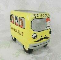 "Vtg Yellow School Bus Planter Vase Ceramic Driver Gift Centerpiece 6"" x 4"" x 5"""