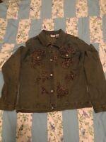 Spiegel Distressed Denim Jean Jacket Embellished Women's Size Medium