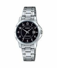 NEW Casio LTP-V004D-1B Women's Stainless Steel Watch BLACK Dial Date Display