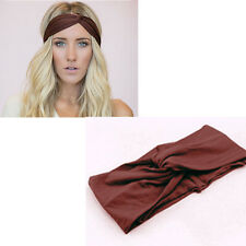 Womens Turban Knot Knotted Camouflage Hair Band Casual Sports Headband Coffee