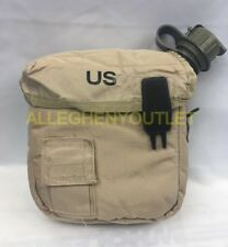 Qty (2) 2 Qt Canteens w/ Qty (2) Covers Insulated Military Surplus Very Good