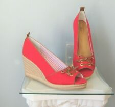 G.H. Bass Wedges Annie Red Canvas Jute Rope Size 10 Peeptoe Shoes Platforms