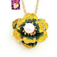 Betsey Johnson Enamel Pearl Flower Pendant Women's Fashion Necklace/Brooch Pin