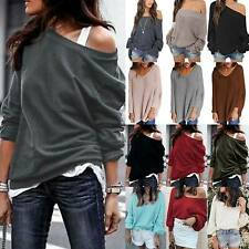 Womens Off Shoulder Casual Loose Sweater Baggy Jumper Pullover Tops Oversized