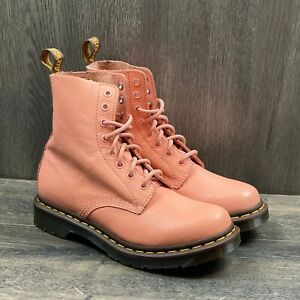 Dr Martens 1460 Pascal Virginia Boots Women's Size 8 Salmon Pink Leather