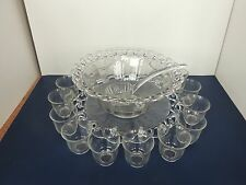 Imperial Crystal glass crocheted Pattern Punch Bowl set 14 cups undertray ladle
