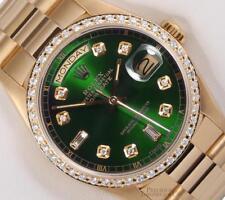 Rolex President 18k Yellow Gold 18038-Green Baguette Diamond Dial-Diamond Bezel