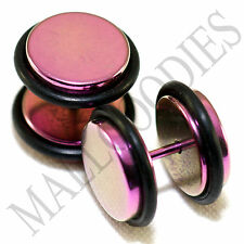 """2114 Fake Cheater Illusion Faux Ear Plugs 16G Steel 1/2"""" 12mm Hot Pink Largest"""
