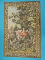 """BEAUTIFUL LES TAPISSERIES D' HALLUIN FRENCH AUBUSSON  STYLE TAPESTRY ~ 55"""" x 36"""""""