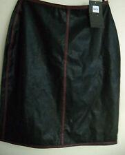 Nikita Brand Black PVC Knee Length Skirt Red stripe piping sides Sz 10
