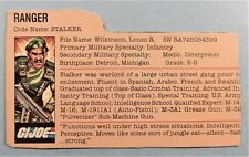 GI JOE 1983 STALKER  FILE CARD  ONE DAY HANDLING
