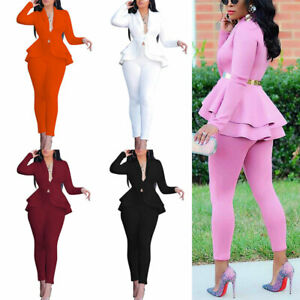 2Pcs/set Women Solid Blazer Office Outfits Business Jacket Pants Suit Formal