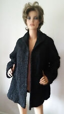 Vtg KAUFMAN BROS OREGON BLACK ASTRAKHAN KARAKUL LAMB FUR COAT w/ COLLAR Size L