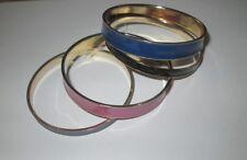 Brand New Set Of 4 Pink, Lilac, Dark Blue & Black Enamel Metal Gold Tone Bangles
