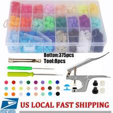 375pcs Plastic Resin Press Stud Cloth Tool Kit +Fastener Snap Pliers KAM Button