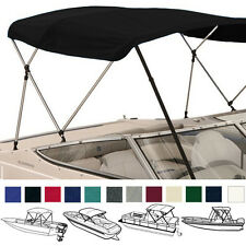 "BIMINI TOP BOAT COVER BLACK 3 BOW 72""L 36""H 91""-96""W - W/ BOOT & REAR POLES"