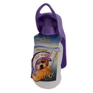Gulpy Pet Water Dispenser Purple Leak-Proof 10 oz. Portable Belt Clip Dog