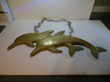 Vintage Large Brass Wall Hanging 2 Dolphins Jumping W/Chain Nautical Mid Century