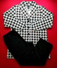 Nina Leonard Large Textured Jacquard Knit Jacket & Solid Black Pull On Pants Set
