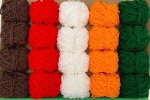 Christmas Wool Yarn Bundle Festive Job Lot Knitting Crochet Pompom Toys Decor DK