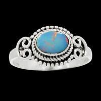 Artisan - Australian Fire Opal 925 Sterling Silver Ring Jewelry s.8 AR9826