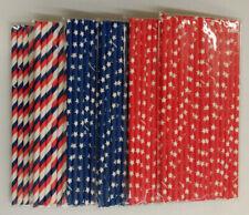 Patriotic Paper Straws - Red, White, Blue Stripes & Red & Blue Stars (90 Straws)