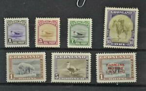 GREENLAND STAMPS 1945 ISSUES ON STOCK CARD H/M  (Y12)