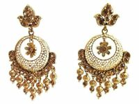 Jewelfy Bollywood Jhumka Gold Plated Bridal Indian Pearl Dangle Fashion Earrings