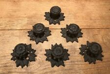 Cast Iron Leaf Base Button Knob Drawer Pulls (Set of Six) Home Decor 0184J-0058