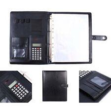 A4 Conference Folder Portfolio Ring Binder Organiser Calculator Leather US Stock