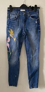 Zara Woman Blue Distressed Embroidered Slim Leg Jeans EUR 36 UK 8 Birds