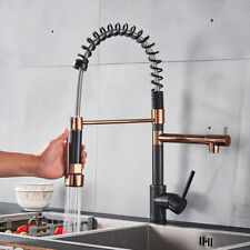 Black Rose Gold Kitchen Spring Faucet Pull Down Sprayer Single Handle Mixer Tap