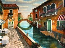 Quality Hand Painted Oil Painting, A Canal in Venice, Italy 36x48in