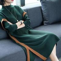 Women's Knitting Wool Blend Slim Fit Knee Length Dress Sweater Tops Knitted wear