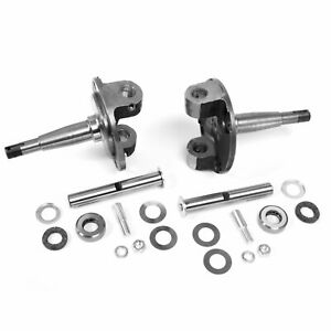 1928 - 1948 Ford CHROME Straight Axle Spindles PAIR w Kingpin Bushing Set Solid