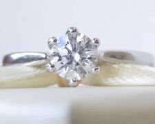 Genuine 0.55ct Diamond In 18K Solid White Gold Solitaire Ring