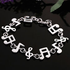 Women's Unisex 925 Sterling Silver Bracelet Beads Song Notes Good Luck L40