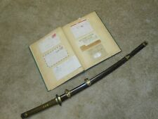 SCRAPBOOK & WW2 JAPANESE SWORD, OFFICERS, KAI GUNTO, SIGNED