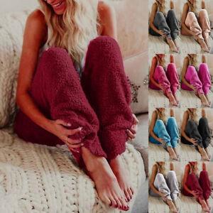 Womens Winter Fleece Lounge Pants Pyjama Bottoms Trousers Nightwear PJ Plus Size