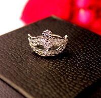 Silver Tone harlequin mask Ring 50s 60s Style Retro Vintage Jewelry UK BoHo