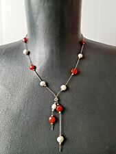 Necklace Sterling Silver 925 Pearl Carnelian Beads Gold Accents