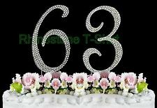 NEW Large Rhinestone  NUMBER (63) Cake Topper 63th Birthday Party Anniversary